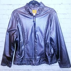 Ruby Road Polyester faux leather jacket